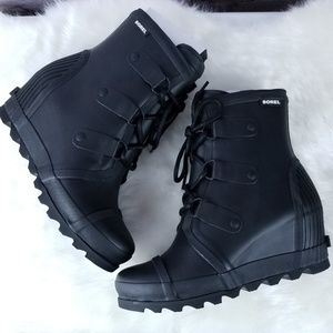 Sorel Joan wedge rain boots black sea salt 10 NEW
